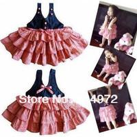 New Summer Girl Dress Wholesale Baby Girl Small Plaid Sleeveless Lovely Infant Cake Dress Free Shipping