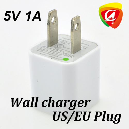 Fedex Free shipping Wholesale 5V Real Actual 1A Wall USB charger EU/US Plug adapter Home power charge for iphone 3/4/5(China (Mainland))