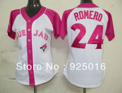 free shipping baseball jersey Toronto Blue Jays #24 Ricky Romero Womens Pink Splash Fashion jerseys mix order hot sell(China (Mainland))