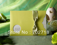 FREE SHIPPING 50PCS/LOT LIGHT BEAN GREEN WEDDING INVITATION CARDS/WEDDING FAVORS/WEDDING SUPPLIES----W1112
