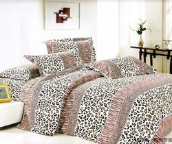 BD04-2 leopard fashion microfiber fabric Queen/Full bedding sets printed comforter covers bedding set 4 pcs with sheets bed(China (Mainland))
