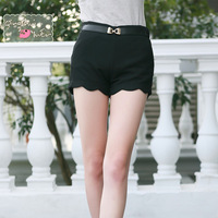 Spring 2013 slim hip leather buckle on scalloped legging female casual pants shorts