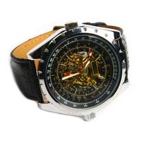 Fashion Stylish Men Large Dial Plate PU Band Hand Wind Mechanical Wrist Watch # L05398