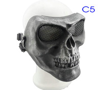 1PC Metallic Color Soldier Wargame Skull Full Cover Face Mask with Metal Mesh Net Goggles Skeleton Bone Airsoft Party Mask