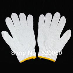 1 Pair White Polyester Cotton String Knit Work Gloves Industrial Working Safety(China (Mainland))