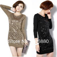 Best Selling!!Autumn Paillette Black Slim Knitted 2013 Fashion Medium-long Sweater Dress Basic Shirt+Free Shipping