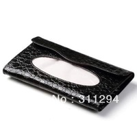 Free Shipping  Fashion High Quality Crocodile pattern Leather Car Tissue box Paper Box Paper napkin holder Car Accessories C010