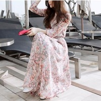 2013 spring and summer one-piece dress women's spring full dress bohemia chiffon long design spring