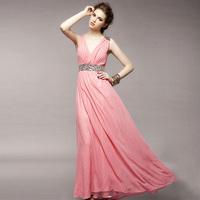 2013  Free shipping  high quality wholesale & long sleeve deep V-neck front slit back open long chiffon evening dress JMS-023