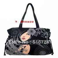 Free shipping Black eyes women's handbag canvas bag casual preppy style cloth bags shoulder bag black