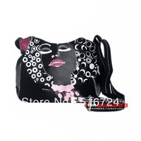 Free shipping Black eyes women's handbag canvas bag young girl preppy style handmade black messenger bag