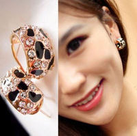 2013 New Fashion Crystal Earrings for Women Leopard Stripe Rhinestone Simulated Diamond Stud Earrings for Women Ladies Wholesale