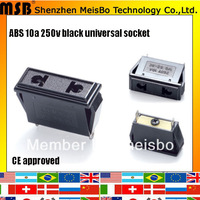 Global CE Rohs 250v 10a abs material black switched socket 500pcs/lot free shipping by fedex