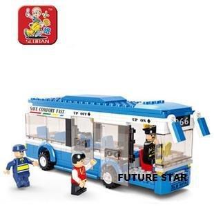 SLuban Building Block 3D Jigsaw Puzzle City Bus Education-assembling toys for kids 235pcs