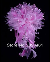 "Crystal brides Bouquet 14 ""  Pink artificial silk lily bouquet wedding flowers pearl bouquet"