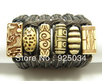 Leather Imitation Wood Handmade Bracelet,Randomly shipping,can not choose, LB98