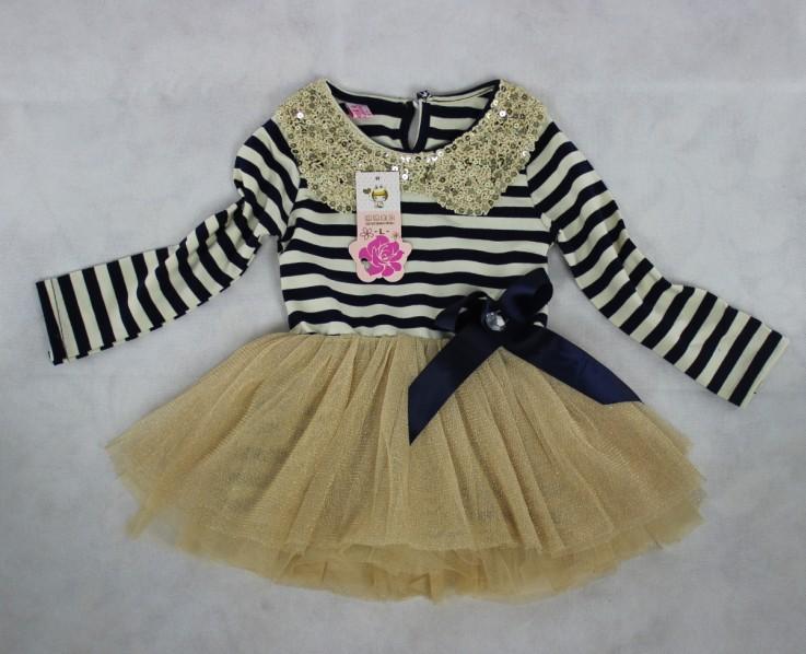 On Sale Retail 1PCS long sleeve stripe baby girl dress 2013 toddler tutu dresses spring summer(China (Mainland))