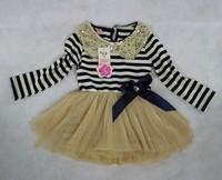 On Sale Retail 1PCS long sleeve stripe baby girl dress 2013 toddler tutu dresses spring summer