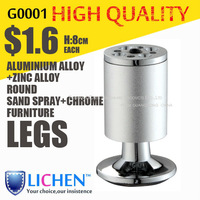 Round Aluminium alloy legs Height 8cm furniture Legs&Cabinet Legs&sand spray legs(4 pieces/lot) LICHEN sofa feet B0001-80
