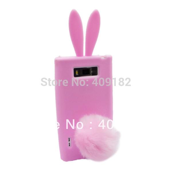 Чехол для LG Optimus L7 P705 P700, lg1 розовый кролик уха задняя часть силикон чехол