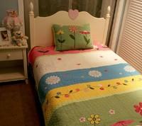 #09  2013 american applique embroidery girl princess pink flower 100% cotton 2set quilt cover sets hotsale promotion