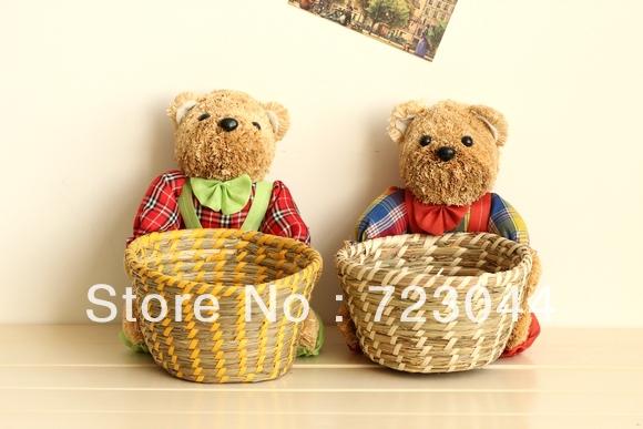 Rabbit and Teddy Bear Straw storage basket, home accessories(China (Mainland))