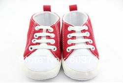 Hot baby toddler prewalker red white Patch babay shoes retail MOQ 1 pair Free shippping(China (Mainland))