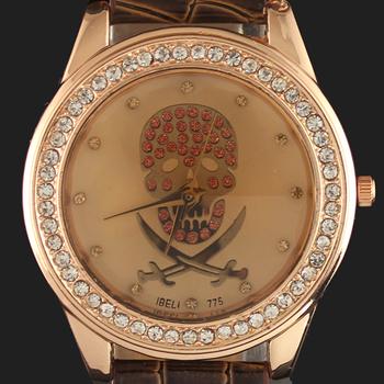 Lovely Skull Head Stylish Brown Crystal Diamond  Men Women Lady Girl's Analog Quartz Gift Bangle Wrist Watches Free Shipping