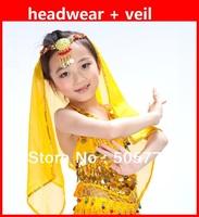 Free shipping 5set/lot  child belly dance veil & headwear accessory kid's chiffon veils indian headdress for belly dance