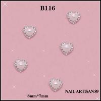 3D Heart Nail Art Metal Acrylic Nail Tips Decoration With Shining Rhinestone Jewelry Nail Supplies 100pcs/lot Size: 8*7mm #B116
