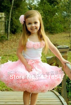 Foreign trade children's pink tutu set five flower vest + Puff skirt pink pettiskirt set
