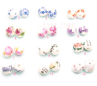 Free Shipping-120 pieces12mm ceramic round beads porcelain beads DIY Beads(mix designs)Jewelry Accessories,wholesale beads