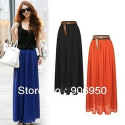 2013 Free Shipping Chiffon Bohemian Retro Princess pleated Skirt Ladies Elastic Waist Lady Skirt(China (Mainland))