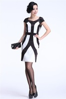 drop  shipping Fashion women's geometry black and white color block decoration brief elegant slim one-piece dress 7518