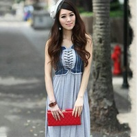 2013 summer bohemia suspender skirt chest strap high waist denim patchwork one-piece dress free shipping
