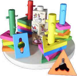 Five columns set building blocks of children's toys wooden toys educational toys Zodiac