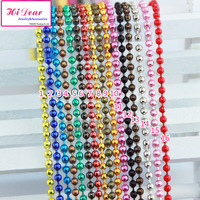 "24pcs 2mm*700mm/27"" Colorful Jewerly Metal Dog Tag Chains Ball Beads Chain Necklace Fashion DIY For Women/Girls Findings/ZL2"
