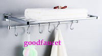 Free Shipping Wholesale And Retail NEW Luxury Bathroom Wall Mounted Towel Racks Shelf Chrome Brass Towel Holder With Towel Bar