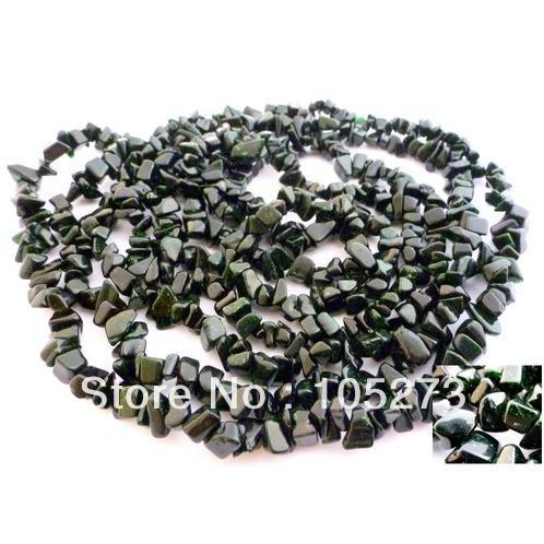New Arriver Gem Stone Jewelry 30&#39;&#39; Dark Green Goldstone Pebble Bead Necklace 30&#39;&#39; Fashion Style Wholesale New Free Shipping(China (Mainland))