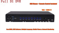 Free shipping New H.264 8ch Full D1 DVR with HDMI & VGA output, CCTV Recorder 8ch d1 Network IPhone, Android Phone Remote View