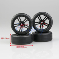 Free shipping 4pcs Black Wheels Drift Tires for  1:10 1/10 RC On Road Drift Model Car/Drift Tires Wheels Rims