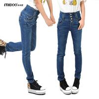 2013 spring female high waist skinny jeans pants slim single breasted pencil pants 166