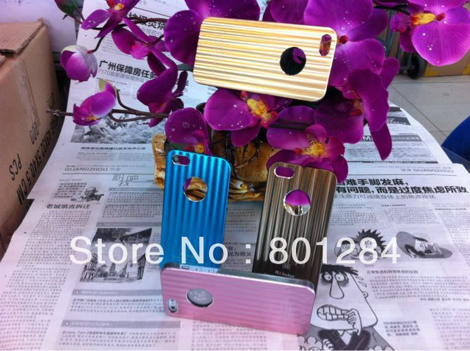 aluminium alloy stripe case for iphone 5 ten color choices for iphone 5 cases 50pcs DHL Free shipping(China (Mainland))