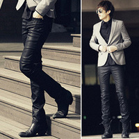Nano coating slim male casual long pants male all-match leather pants male