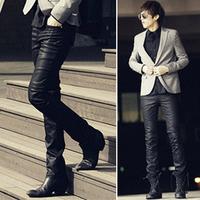 Nano coating slim male casual long pants male all-match leather pants male