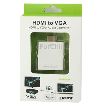 New HDMI Male to VGA Female Video AV Cable Converter Adapter HD 1080P with Audio (With HDMI Female to Male Adapter)