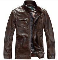 Free shipping !  men's winter genuine leather jacket ,Motorcycle stand collar leather overcoat ! M-3XL