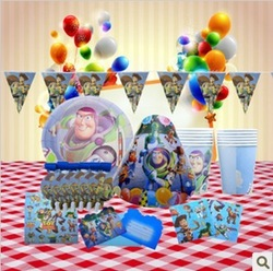 6Kids Free Shipping Boys Toy Story Birthday Decor Party Time Baby Boy Paper Plate Paper Hat Straw Themes Party Suppliers(China (Mainland))