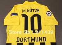 2012-2013 Champion league Dortmund home  football uniforms jersey soccer  uniforms shirt and shorts