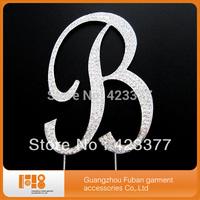 wedding birthday party monogram clear rhinestone crystal letter cake topper